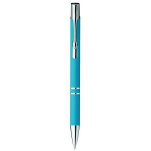 """Reklamní předmět """"Kovové kuličkové pero"""" v barevné variantě azurová"""