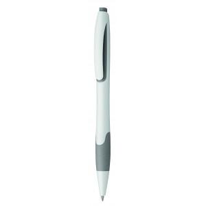 """Reklamní předmět """"Kuličkové pero plastové s pryžovým gripem"""" v barevné variantě světle šedá/bílá"""