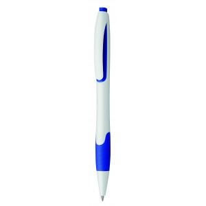 """Reklamní předmět """"Kuličkové pero plastové s pryžovým gripem"""" v barevné variantě námořnická modř/bílá"""