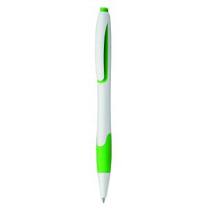 """Reklamní předmět """"Kuličkové pero plastové s pryžovým gripem"""" v barevné variantě zelená/bílá"""