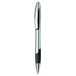 """Reklamní předmět """"Kuličkové pero plastové s pryžovým gripem"""" v barevné variantě černá/stříbrná"""