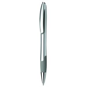 """Reklamní předmět """"Kuličkové pero plastové s pryžovým gripem"""" v barevné variantě světle šedá/stříbrná"""