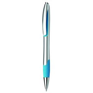 """Reklamní předmět """"Kuličkové pero plastové s pryžovým gripem"""" v barevné variantě modrá/stříbrná"""