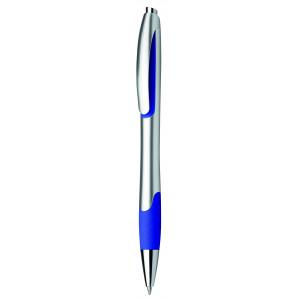 """Reklamní předmět """"Kuličkové pero plastové s pryžovým gripem"""" v barevné variantě námořnická modř/stříbrná"""