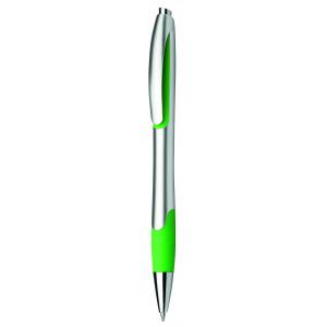"""Reklamní předmět """"Kuličkové pero plastové s pryžovým gripem"""" v barevné variantě zelená/stříbrná"""