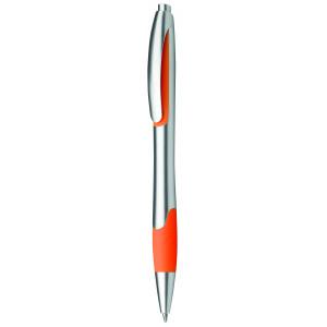 """Reklamní předmět """"Kuličkové pero plastové s pryžovým gripem"""" v barevné variantě žlutooranžová/stříbrná"""