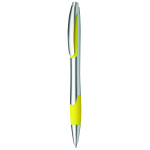 """Reklamní předmět """"Kuličkové pero plastové s pryžovým gripem"""" v barevné variantě žlutá/stříbrná"""