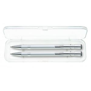 """Reklamní předmět """"Dárková sada mikrotužky a kuličkového pera"""" v barevné variantě stříbrná"""