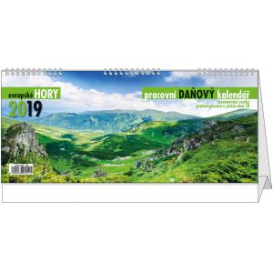 """Náhled reklamního předmětu """"Stolní kalendář Pracovní daňový kalendář - Evropské hory2019"""""""
