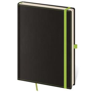 """Náhled reklamního předmětu """"Notes Black Green S 9x14 cm, linkovaný"""""""