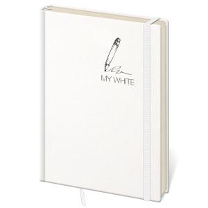 """Náhled reklamního předmětu """"Notes My White S 9x14 cm, tečkovaný"""""""