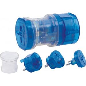 """Reklamní předmět """"Cestovní adaptér"""" v barevné variantě ocelově modrá"""