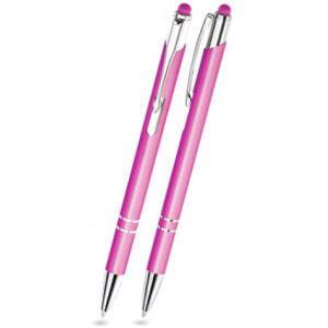 """Reklamní předmět """"Kovové kuličkové pero (propiska) Cosmo Slim Top Touch"""" v barevné variantě bledě růžová"""