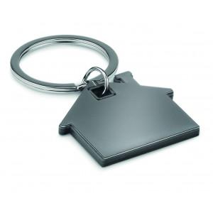 """Reklamní předmět """"Přívěšek ve tvaru domu"""" v barevné variantě černá/stříbrná"""