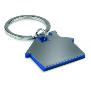 """Reklamní předmět """"Přívěšek ve tvaru domu"""" v barevné variantě modrá/stříbrná"""