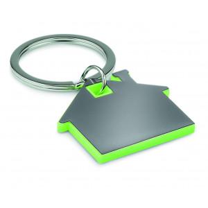 """Reklamní předmět """"Přívěšek ve tvaru domu"""" v barevné variantě zelená/stříbrná"""