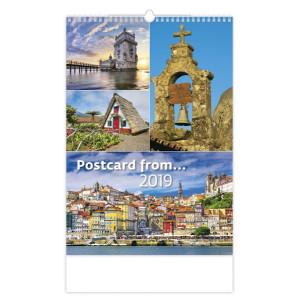 """Náhled reklamního předmětu """"Nástěnný kalendář Postcard from/ Pohlednice z ... 2019"""""""