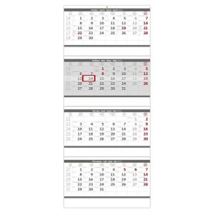 """Náhled reklamního předmětu """"Nástěnný kalendář Čtyřměsíční šedý 2019"""""""