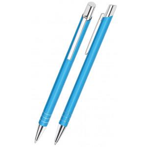 """Reklamní předmět """"Kovové kuličkové pero (propiska) Nicol Slim"""" v barevné variantě ocelově modrá"""