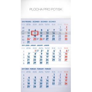 """Náhled reklamního předmětu """"Nástěnný kalendář Standard modrý 3měsíční 2019"""""""