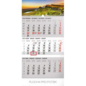 """Náhled reklamního předmětu """"Nástěnný kalendář Krajina šedý 3měsíční 2019"""""""