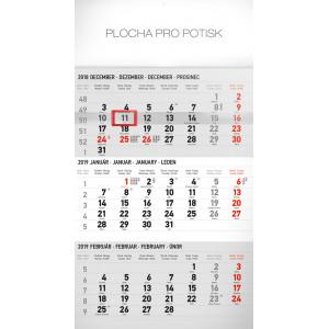 """Náhled reklamního předmětu """"Nástěnný kalendář Štandard šedý 3mesačný 2019"""""""