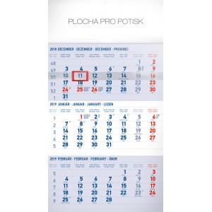 """Náhled reklamního předmětu """"Nástěnný kalendář Štandard modrý 3mesačný 2019"""""""