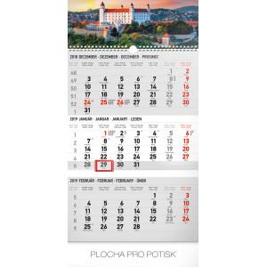 """Náhled reklamního předmětu """"Nástěnný kalendář Bratislava šedý 3měsíční 2019"""""""