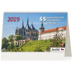 """Fotografie reklamního předmětu """"Stolní kalendář 55 turistických NEJ Čech, Moravy a Slezska 2019"""""""