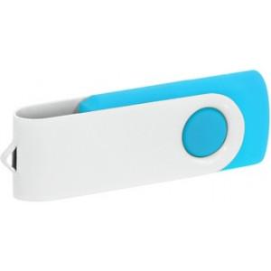 """Reklamní předmět """"Flashdisk USB 2.0"""" v barevné variantě bílá/azurová"""