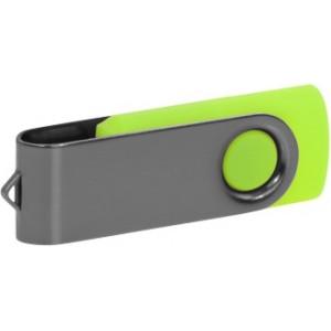 """Reklamní předmět """"Flashdisk USB 2.0"""" v barevné variantě šedá/žlutozelená"""
