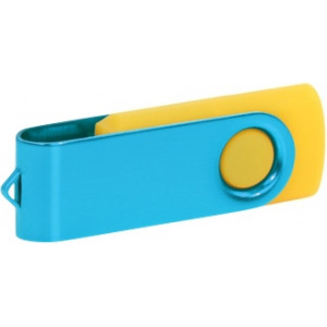 """Reklamní předmět """"Flashdisk USB 3.0"""" v barevné variantě ocelově modrá/žlutooranžová"""