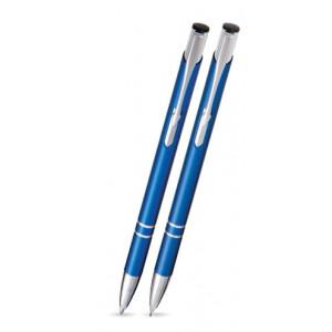 """Reklamní předmět """"Sada kuličkového pera a mikrotužky Cosmo Slim v koženém pouzdře"""" v barevné variantě námořnická modř"""
