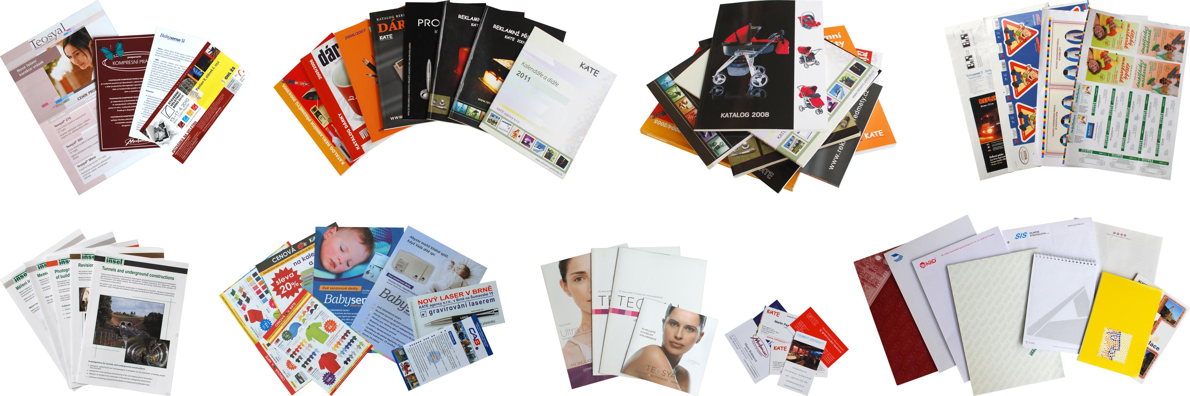 Ukázka tiskových produktů grafického studia KATE agency